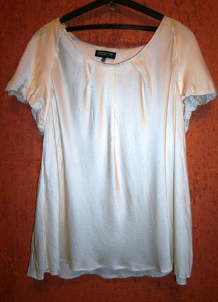 Очень красивая золотистая блуза  шелк большой размер