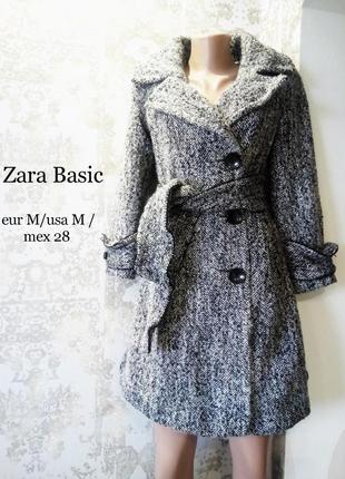Eur m/usa m /mex 28 двубортное пальто в ёлочку с ремнём zara basic
