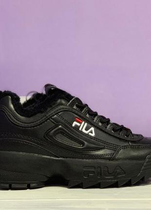 Шикарные женские зимние кроссовки fila disruptor 2 winter all black с мехом!