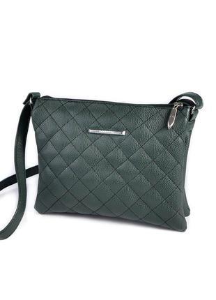 Зеленая маленькая сумка-клатч через плечо