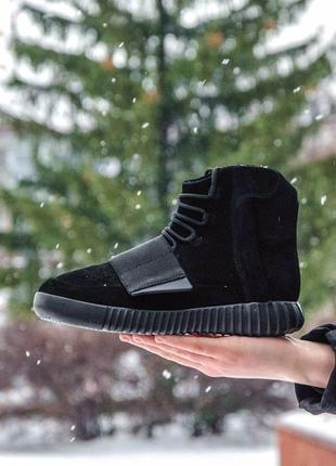 Шикарные мужские кроссовки adidas yeezy boost 750 black (осень/ весна/ еврозима)