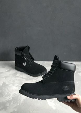 Акция!!! ботинки timberland 6 inch boot in black с мехом! (мужские/ женские размеры)