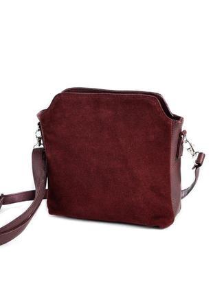 Бордовая замшевая маленькая сумка через плечо кроссбоди