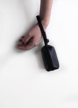 Ключница , косметичка для мелочей из натуральной чёрной  кожи