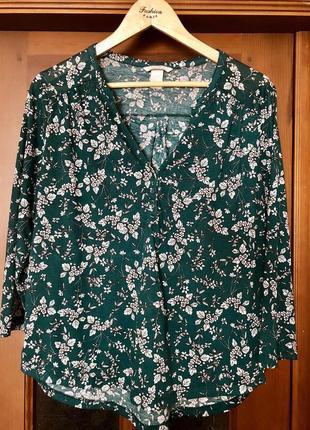 Блуза зеленого цвета цветочный принт цветы zara