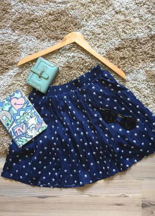 Плиссированная юбка в принт горох пальмы юбка плиссе