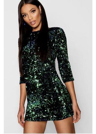 Розкішна смарагдова сукня в пайєтки \изумрудное вечернее платье в пайетки на новый год2