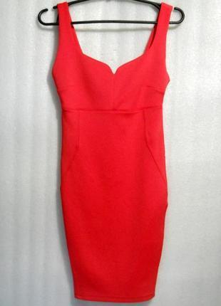 Ярко-розовое платье сукня облегающее по фигуре короткое мини на молнии от bershka s
