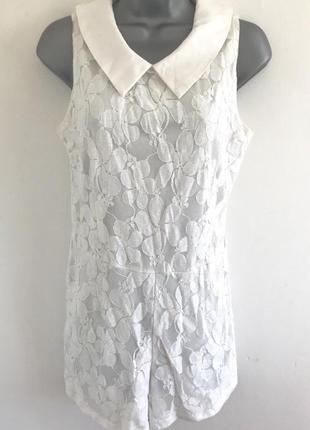 Невероятно нежный ажурный белый ромпер комбинезон с шортами cameo rose от new look m-l