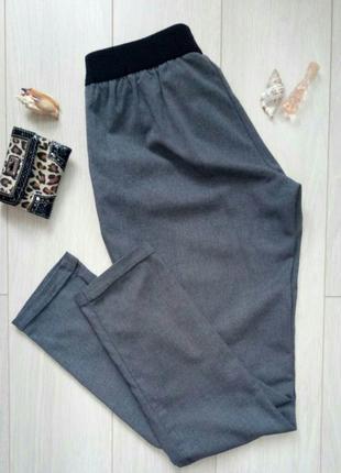 Серые повседневные зауженные брюки, средняя посадка
