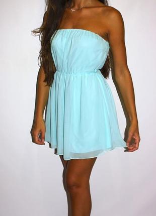 Платья - большой выбор (300ед ) - шифоновое мятное платье s-m