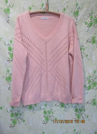 Красивый ажурный свитер с разрезом на спинке большой размер uk 20/наш 54