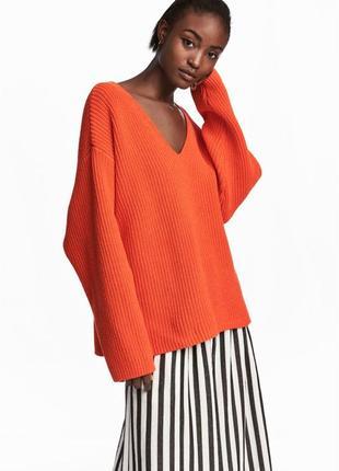 Роскошный свитер крупной вязки резинкой оверсайз h&m