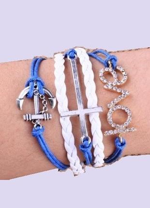 Стильный браслет - крест, якорь, love, новый! арт.109149