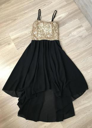 Платье золотое черное в паетках длинное короткое нарядное на новый год вечернее