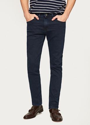 Теплые темно синие джинсы скинни skinny слим на флисе размер xs