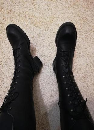 Сапоги женские кожаные сапоги на шнуровке ботинки женские