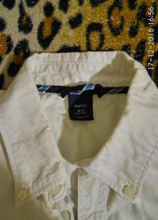 Белая рубашка на 10-11лет 146-152см gapkids на мальчика хлопок коттон