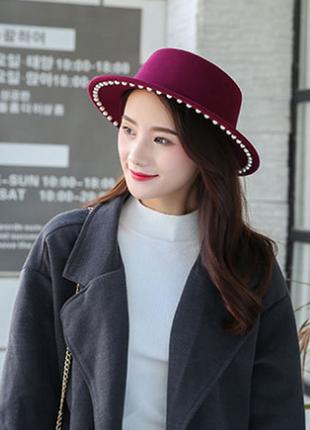 Модная весенне-осенняя шляпа канотье с жемчугом 13123