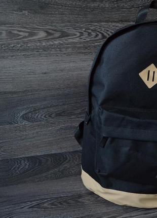 Рюкзак,сумка для ноутбука, кожаное, дно, спортивный, городской, бежевый, черный