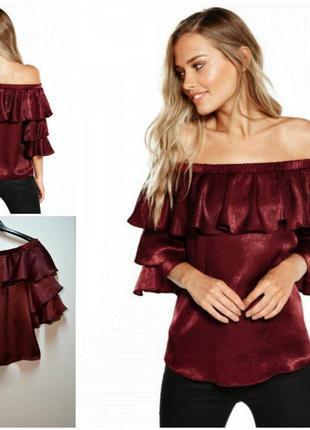 Эксклюзивная блуза цвета марсала с воланами