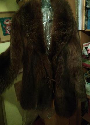 Очень теплая шуба из серебристой лисы