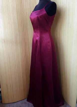Атласное вечернее / выпускное платье цвет марсала