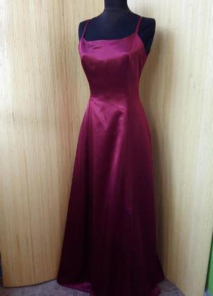 Атласное вечернее / выпускное платье цвет марсала3
