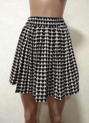 Zara зара юбка плиссированная с сердечками размер м 38 10 46