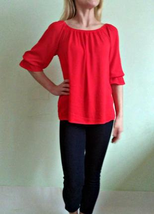 Яркая красная вискозная блуза l
