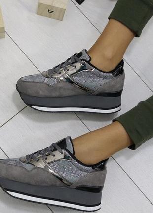 Новые серые зимние кроссовки размер 36-41