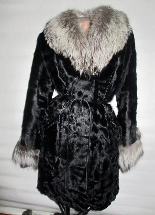 Шуба,шубка ,полушубок натуральный мех коза,козлик-чернобурка,лиса! 46-48 р