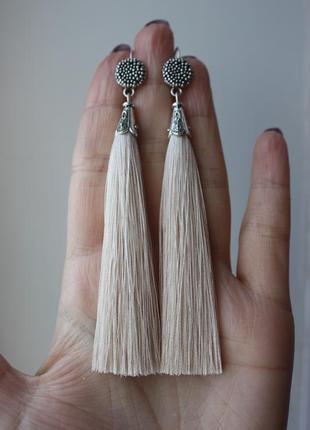 Серьги серёжки кисти кисточки с оригинальной швензой бежевые кремовые