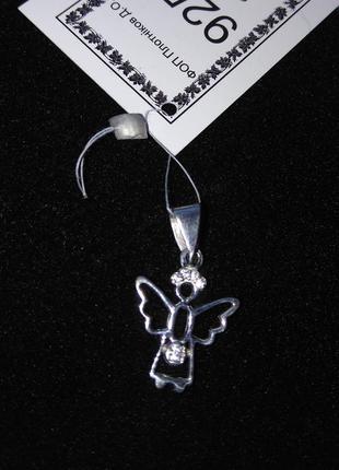 Серебряный подвес кулон ангел с камнями цирконий серебро 925 пробы