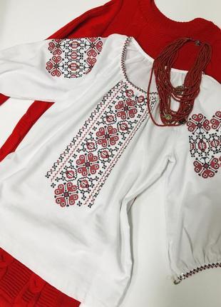 Классическая блуза с вышивкой вышиванка вишиванка размер 38-40