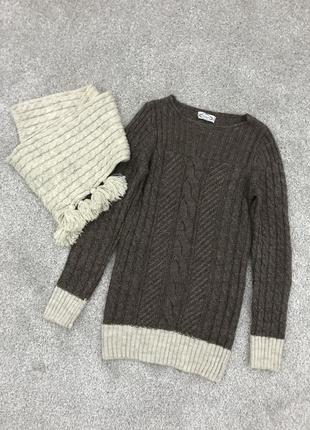 Стильный шерстяной свитер + снуд.