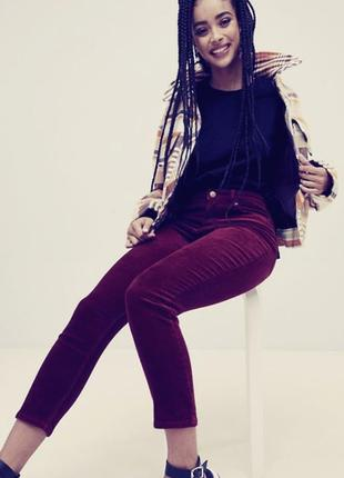 Бордовые вельветовые джинсы, брюки прямые s-m с высокой посадкой