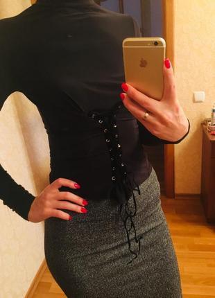 Модная кофточка водолазка  с шнуровкой