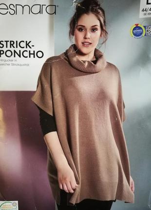 Стильный теплый свитер оверсайз пончо esmara германия пуловер
