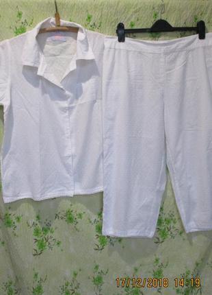Хлопковая легкая пижама рубашка + бриджи большой размер uk18/52-54