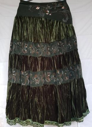 Вельветово-бархатная нарядная юбочка изумрудного цвета 14-16размер