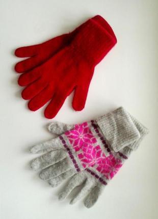Ангоровые перчатки комплектом, цена за 2 пары tu