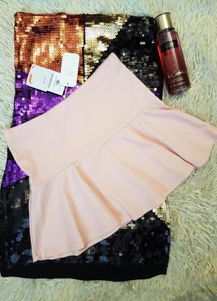 Красивая пудровая мини юбка bershka.