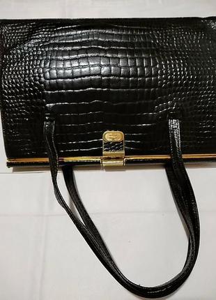 Стильная сумка из натуральной кожи аллигатора elbief england. винтаж