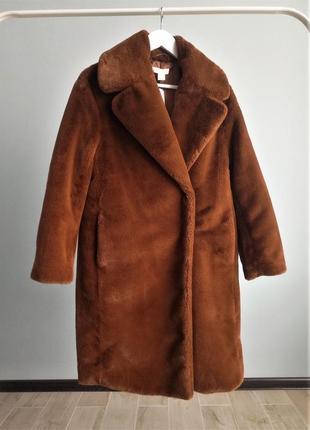Женская шуба h&m коричневого цвета экомех размер xs/s