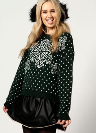 Стильный новогодний свитер boohoo, новый