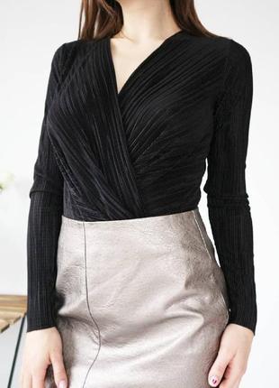 Боди блуза плиссировкой с имитацией запаха