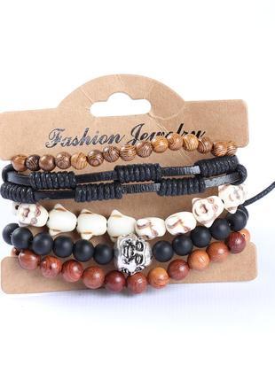 Стильный набор мужских браслетов с буддой