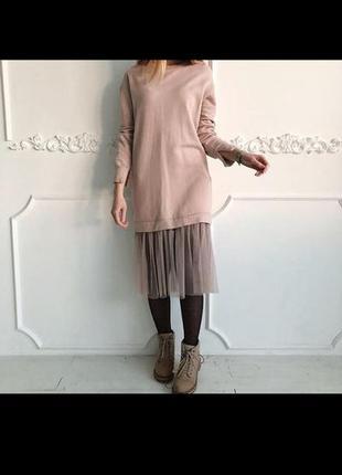 Стильное платье свитшот с фатином