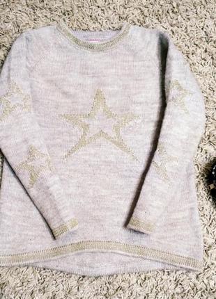 Теплый свитер cincan, 128-132 р., 6-8 лет, новогодний, шерсть, кофта